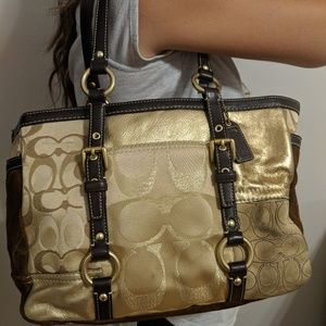 Coach patchwork tote bag with suede